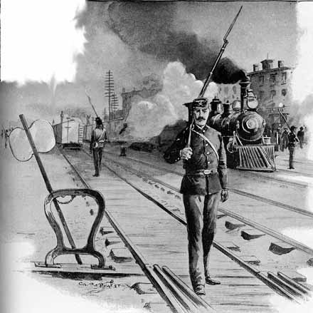 Pullman strike soldier patrols train